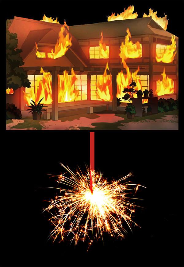 家燃え花火