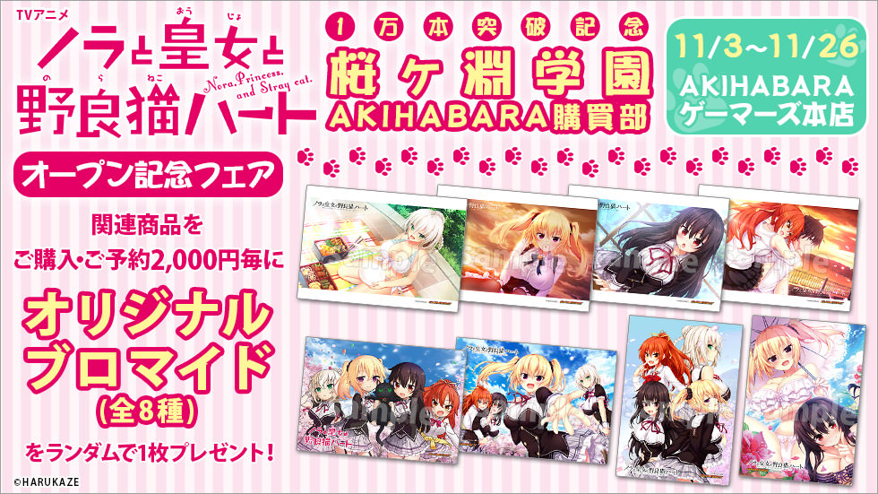 TVアニメ「ノラと皇女と野良猫ハート」1万本突破記念 桜ヶ淵学園 AKIHABARA購買部 オープン記念フェア
